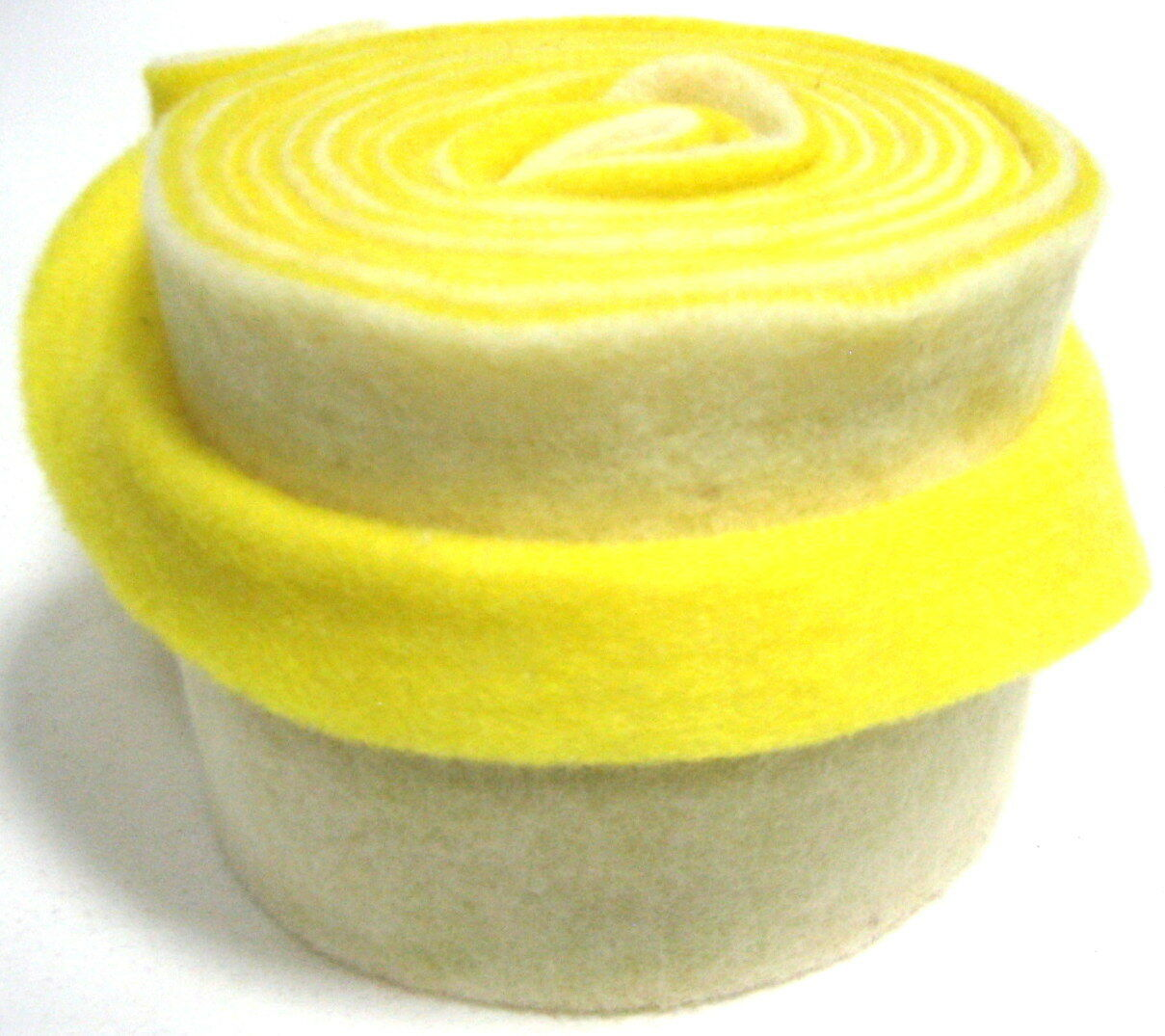Topfband Filz 5 m x 15 cm zwei-farbige Dekoband Wollvlies Filz-Band Wollband  - weiß-gelb