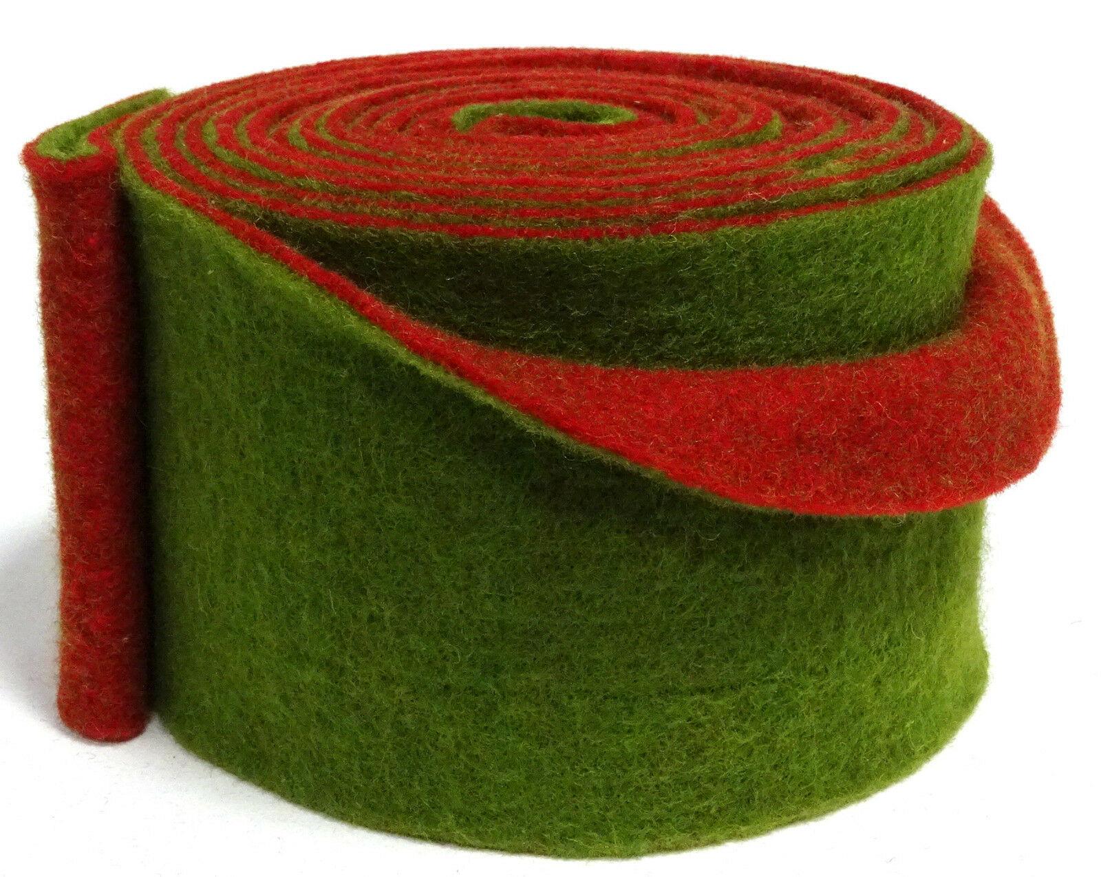 Topfband Filz 5 m x 15 cm zwei-farbige Dekoband Wollvlies Filz-Band Wollband  - rot-grün
