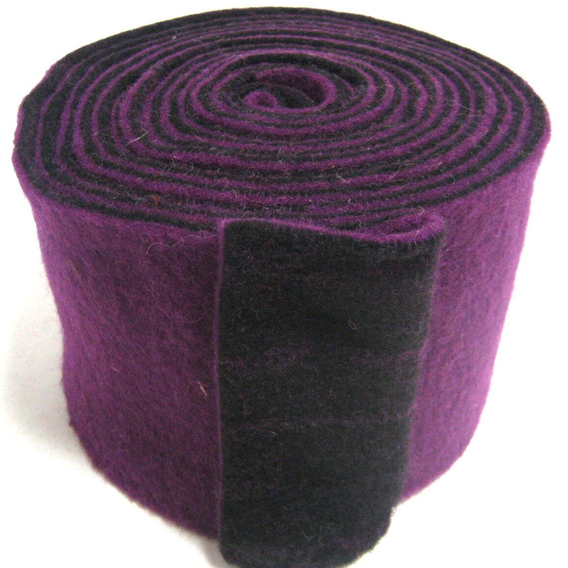 Topfband Filz 5 m x 15 cm zwei-farbige Dekoband Wollvlies Filz-Band Wollband  - brombeer-schwarz