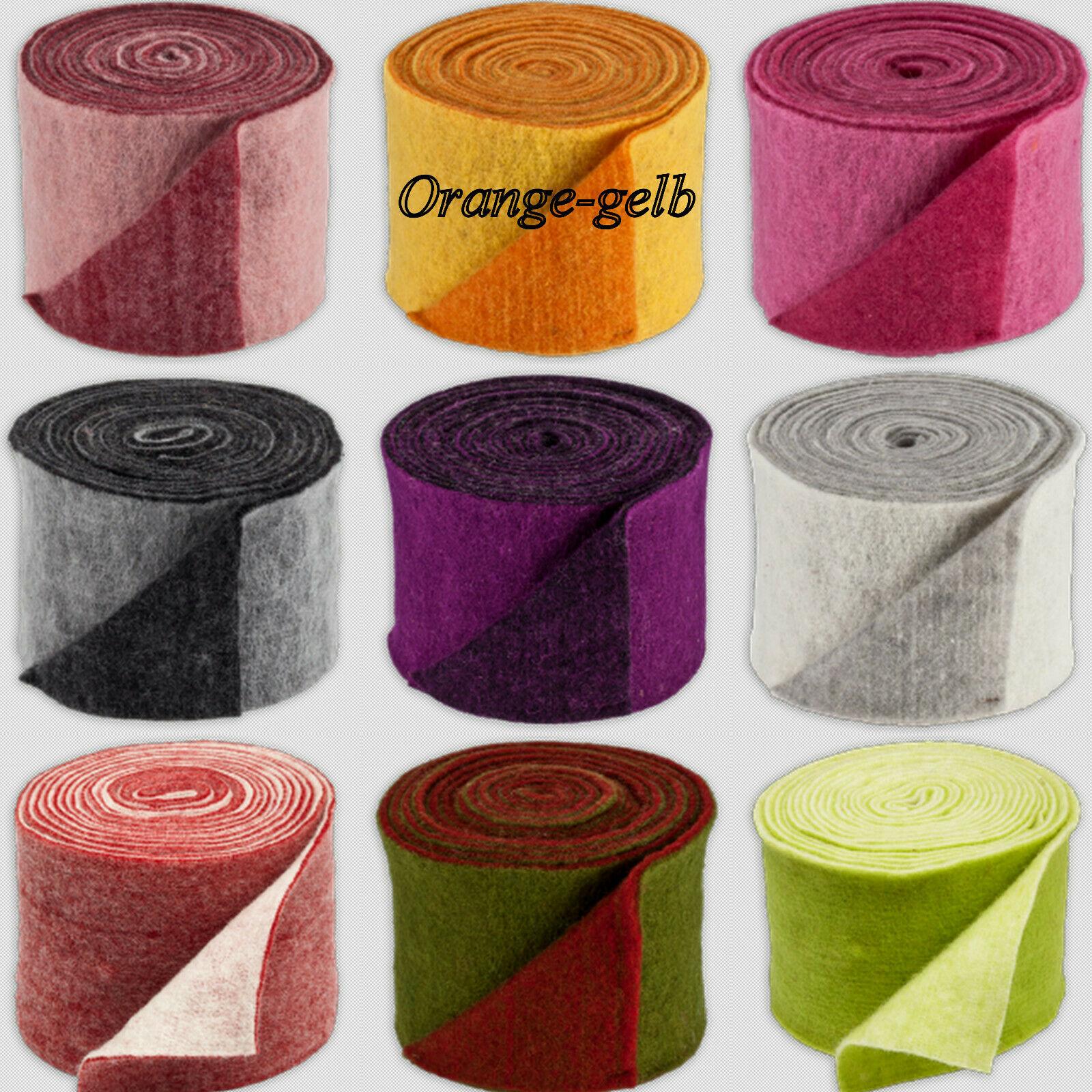 Topfband Filz 5 m x 15 cm zwei-farbige Dekoband Wollvlies Filz-Band Wollband  - Orange-gelb