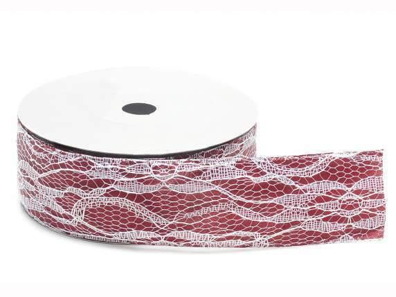 Satinband mit weiße Spitze 20m x 38mm Dekoband Schleifenband Vintage 0,40 €/m  - Bordeaux