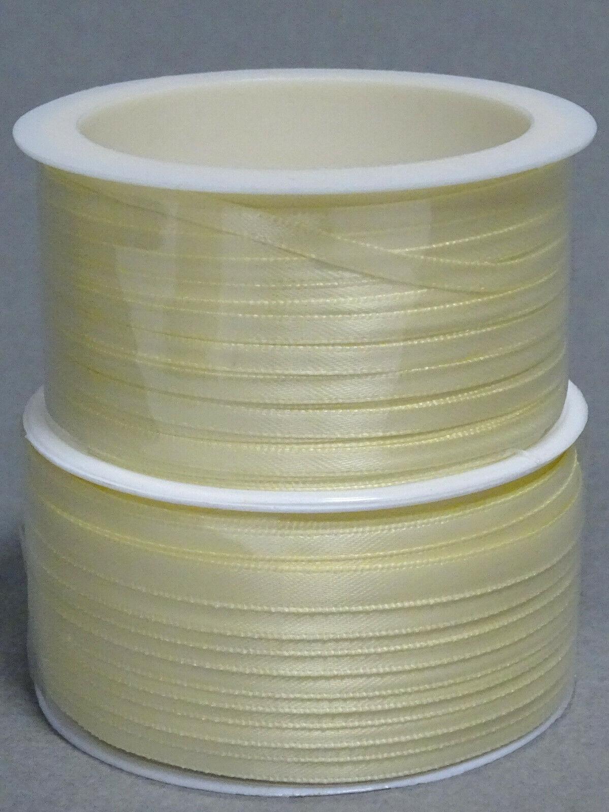 Satinband Schleifenband 50m x 3mm / 6mm Dekoband ab 0,05 €/m Geschenkband Rolle - Creme 102, 3 mm x 50 m
