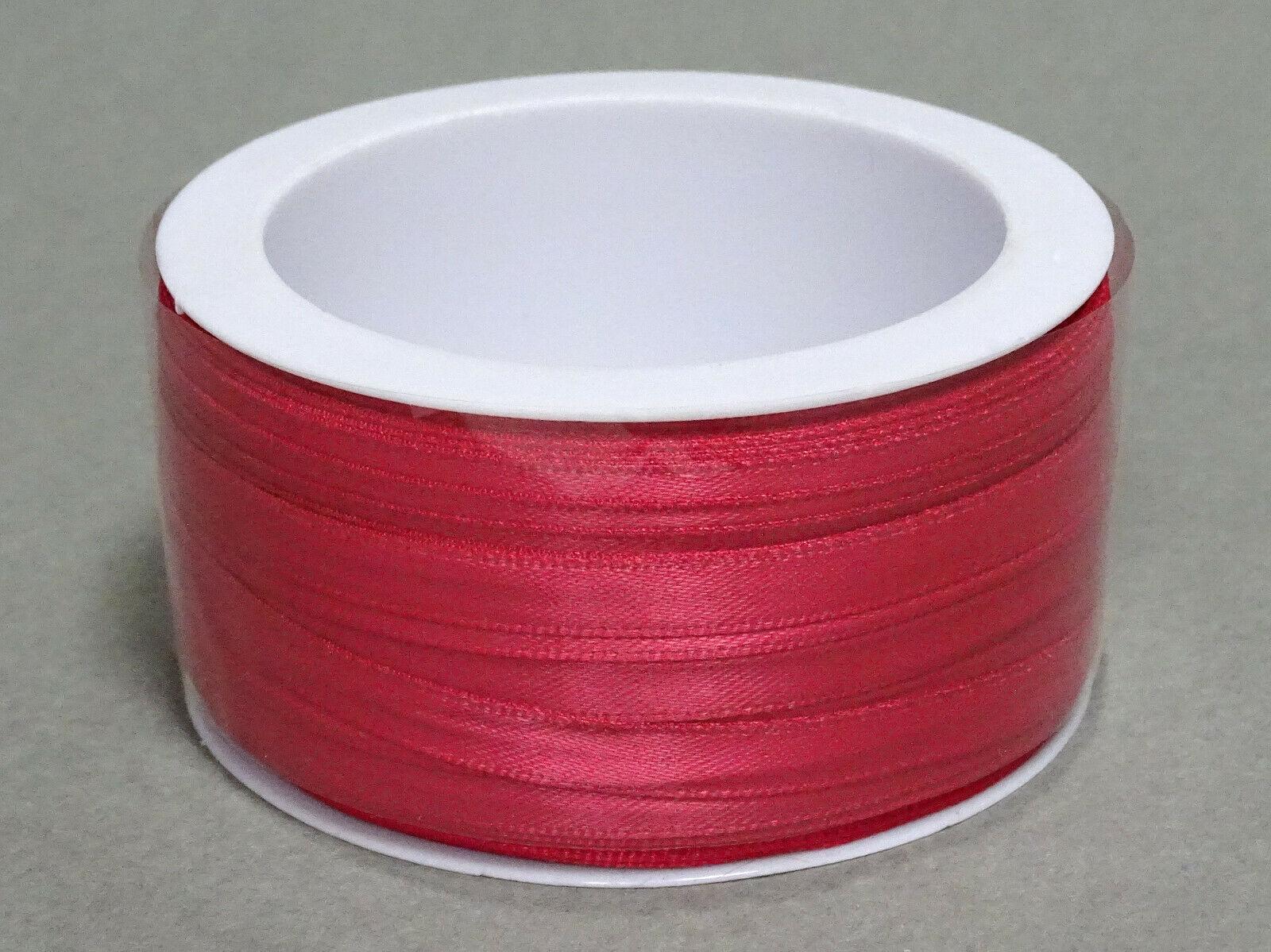 Satinband Schleifenband 50m x 3mm / 6mm Dekoband ab 0,05 €/m Geschenkband Rolle - Himbeer-Pink 138, 3 mm x 50 m
