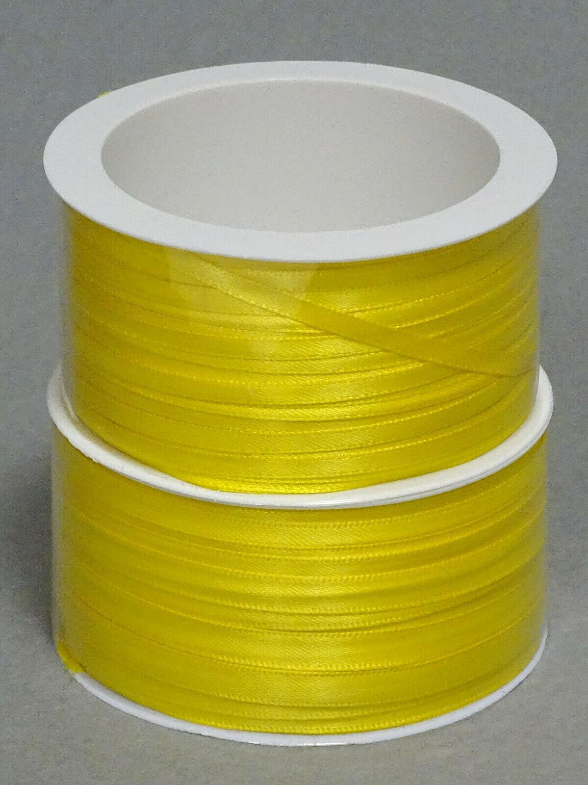 Satinband Schleifenband 50m x 3mm / 6mm Dekoband ab 0,05 €/m Geschenkband Rolle - Gelb 245, 6 mm x 50 m