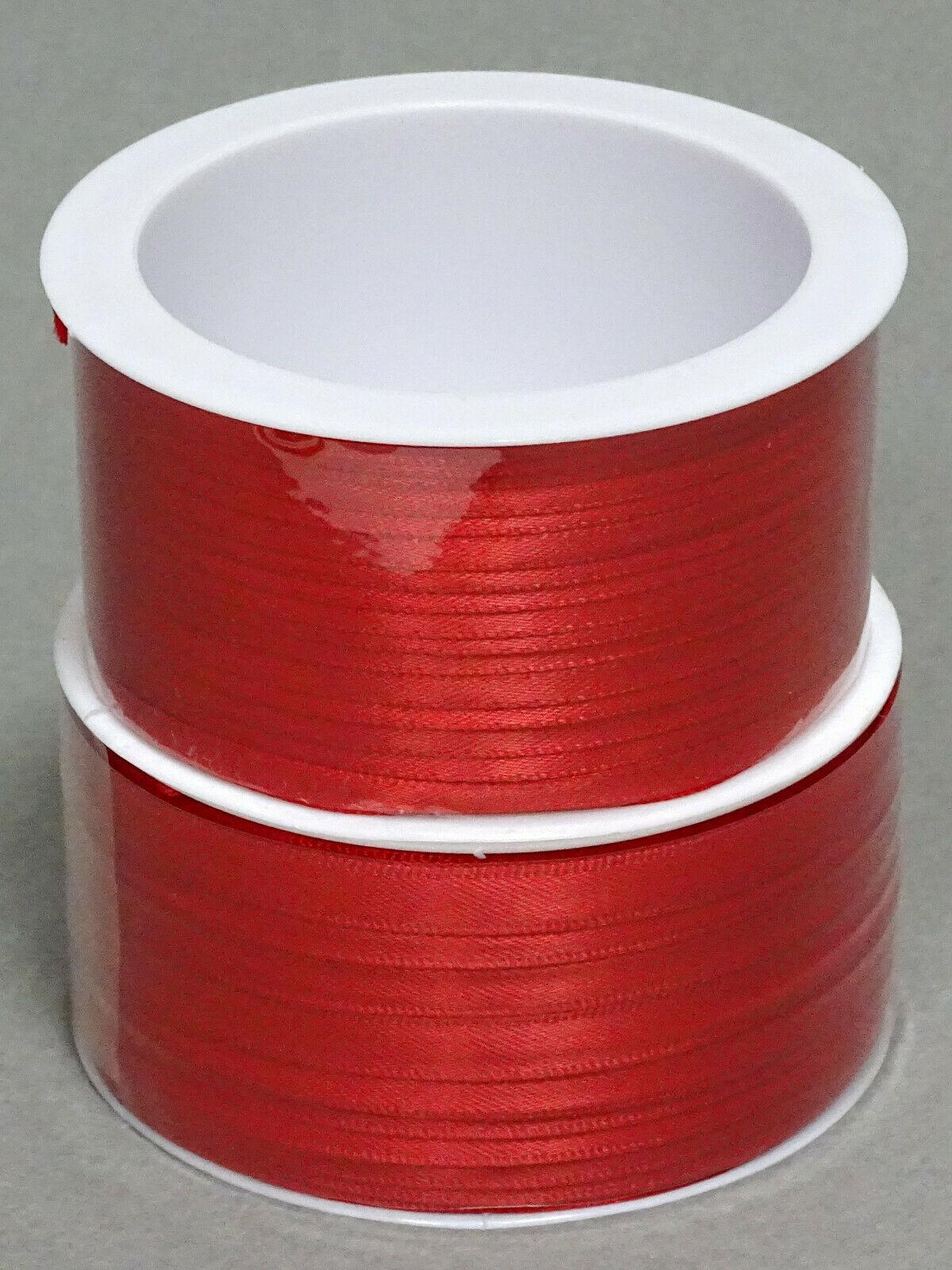 Satinband Schleifenband 50m x 3mm / 6mm Dekoband ab 0,05 €/m Geschenkband Rolle - Rot 123, 3 mm x 50 m