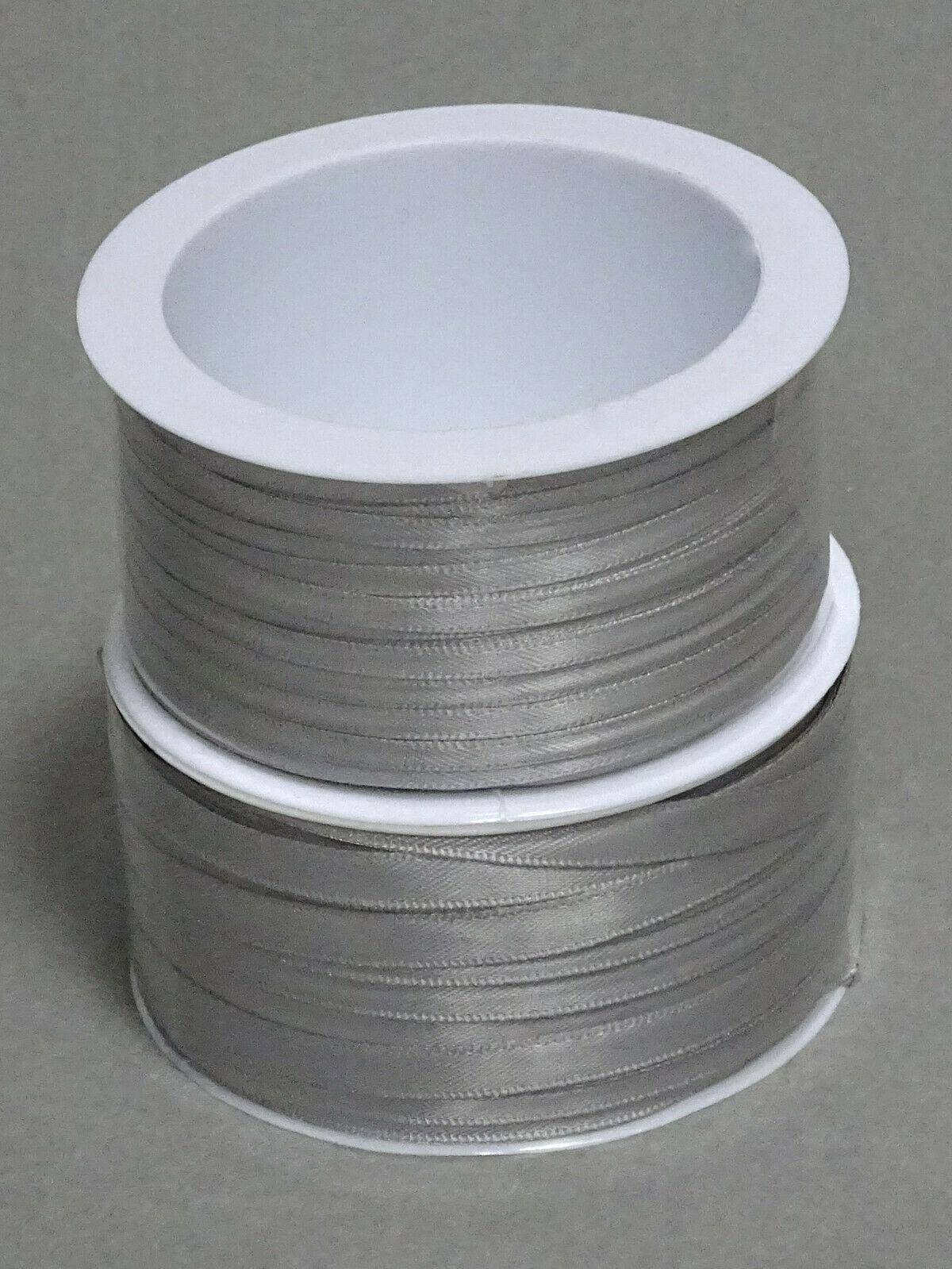 Satinband Schleifenband 50m x 3mm / 6mm Dekoband ab 0,05 €/m Geschenkband Rolle - Silber-Grau 903, 3 mm x 50 m