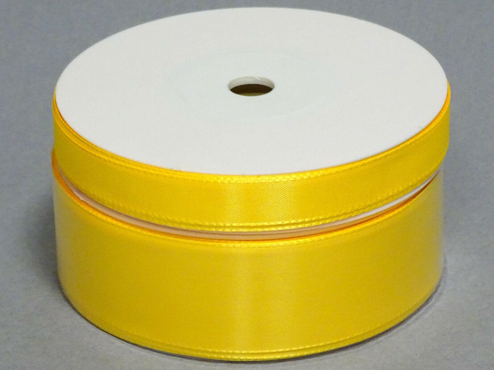 Seidenband Schleifenband 50 m x 15 mm / 40 mm Dekoband ab 0,08 €/m Geschenkband  - Gelb 245, 15 mm x 50 m