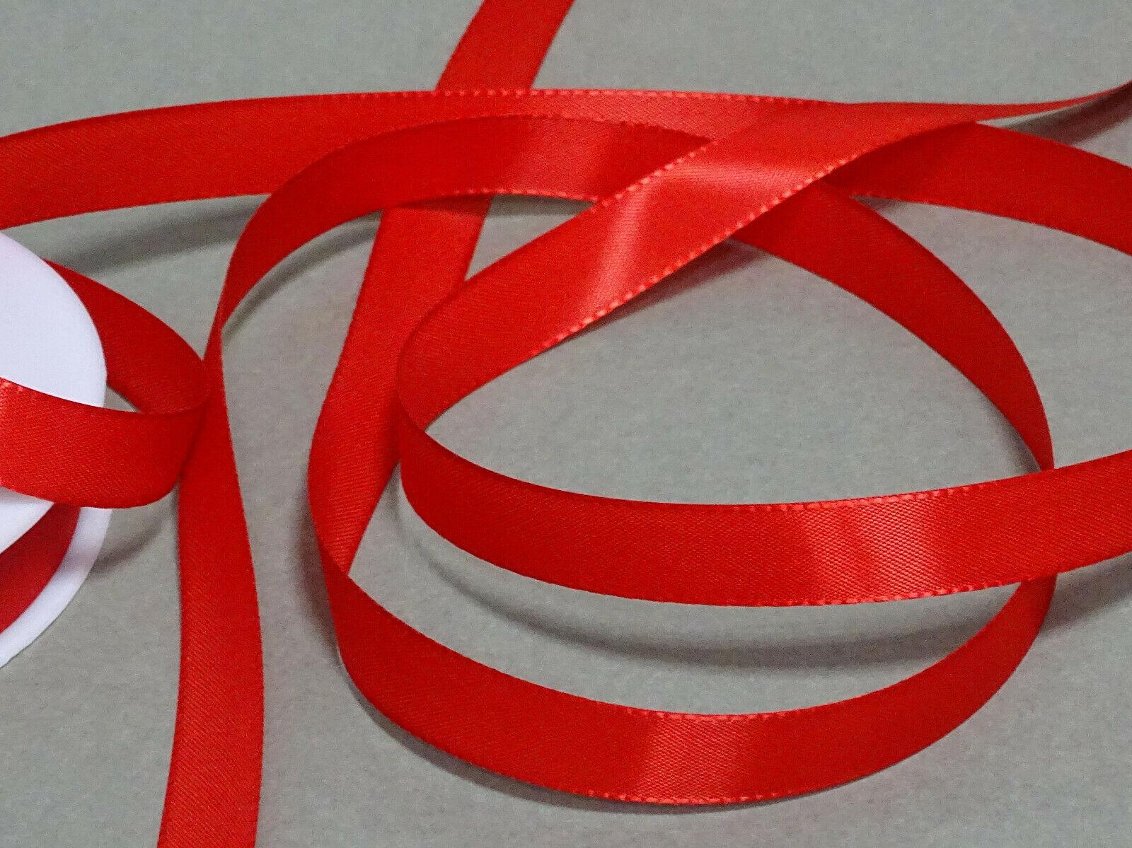 Seidenband Schleifenband 50 m x 15 mm / 40 mm Dekoband ab 0,08 €/m Geschenkband  - Rot 123, 15 mm x 50 m