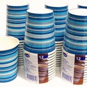 12-120 Pappbecher 0,2 L Einweg Trinkbecher Coffee To Go Kaffeebecher m. Streifen - 60 Stück = 5 Pack. x 12 Stück