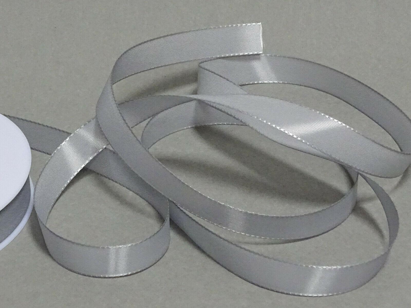 Seidenband Schleifenband 50 m x 15 / 25 / 40mm Dekoband ab 0,08€/m Geschenkband  - Silber-Grau 903, 15 mm x 50 m
