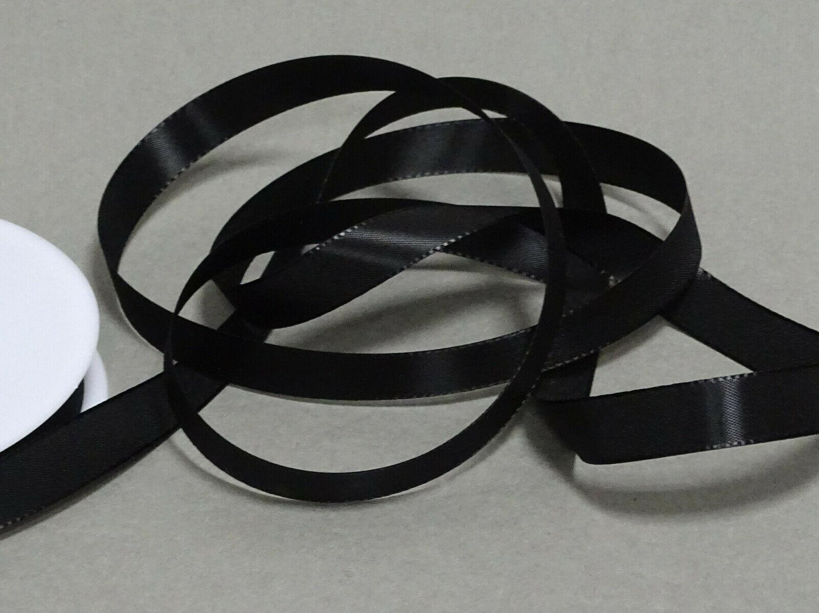 Seidenband Schleifenband 50 m x 15 / 25 / 40mm Dekoband ab 0,08€/m Geschenkband  - Schwarz 113, 40 mm x 50 m