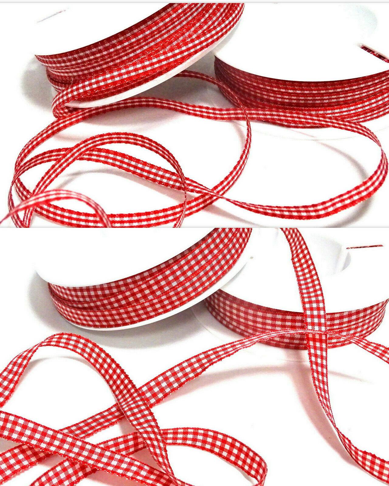 Karoband Schleifenband 50 m x 6mm / 10mm Vichy Dekoband ab 0,18€/m Geschenkband - Rot – Weiß 0123, 10 mm x 50 m