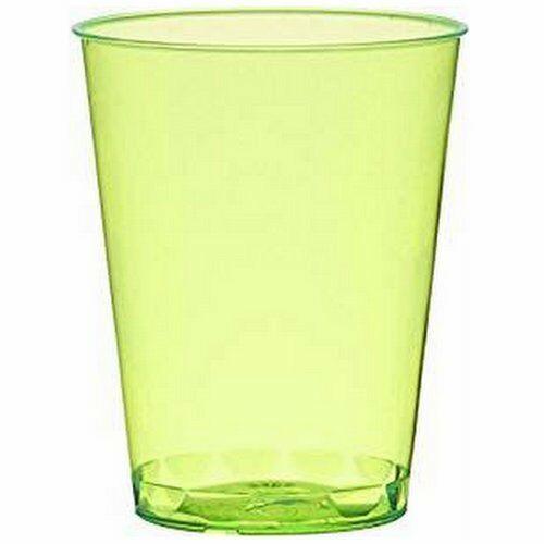100 - 200 Stück Einweg Schnapsgläser 49 ml (Eichstrich: 2 cl/4 cl) Neon Farben - 200 Stück=10 Pack. x 20 Stück, Grün