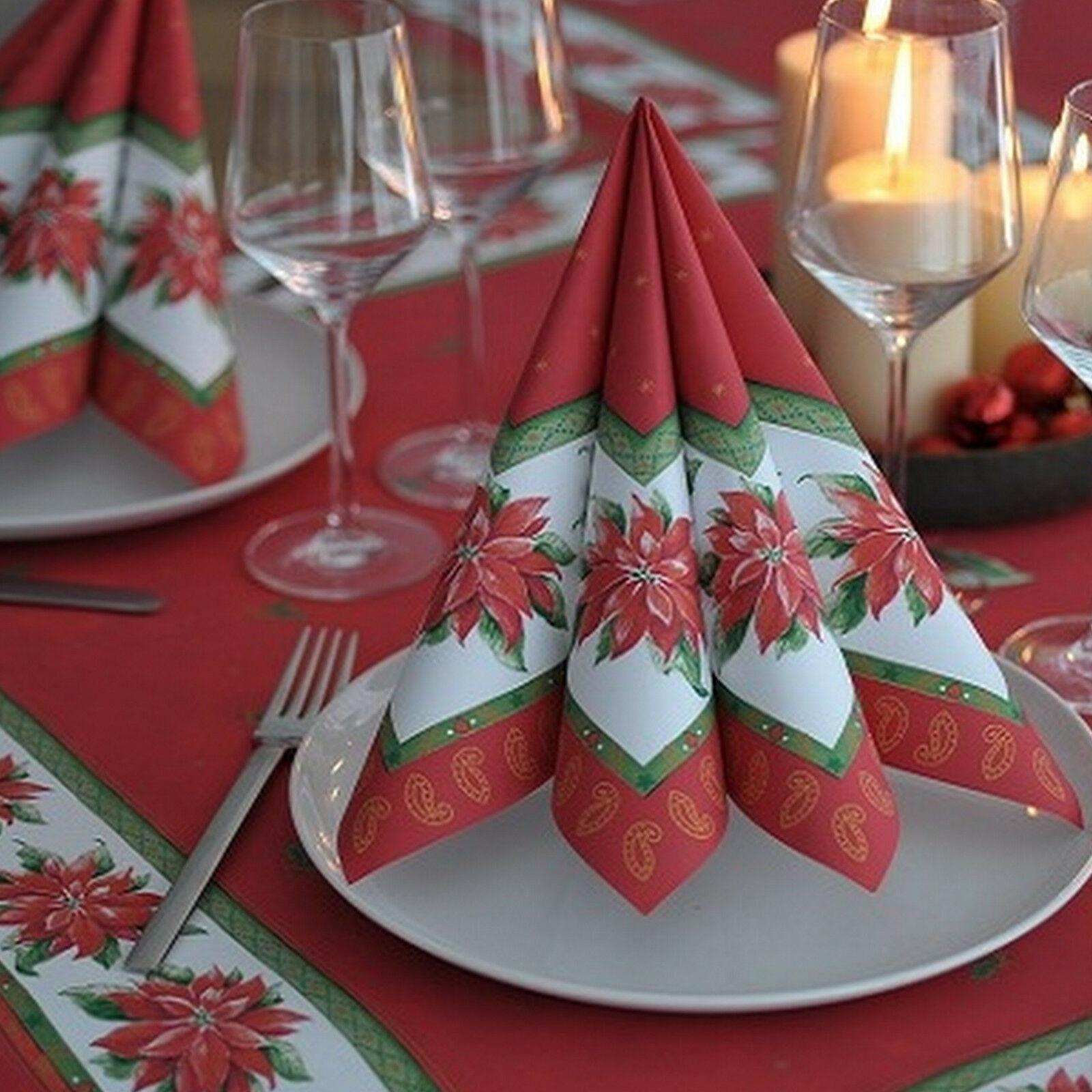 50-300 Stück Dunicel Premium Servietten 40x40 cm Weihnachten Rot Weihnachtstern - 50 Stück