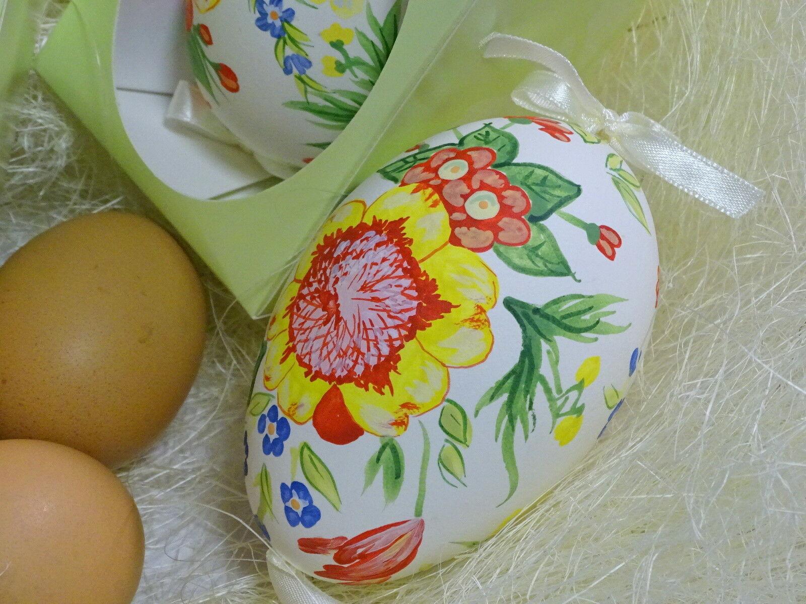 Osterei echte Gänse Eierschale handbemalt ca. 9 cm Ostern Ei Anhänger Dekoeier - SPRING JEWELS 216