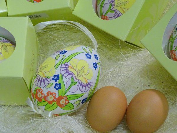 Osterei echte Gänse Eierschale handbemalt ca. 9 cm Ostern Ei Anhänger Dekoeier - SPRING JEWELS 220