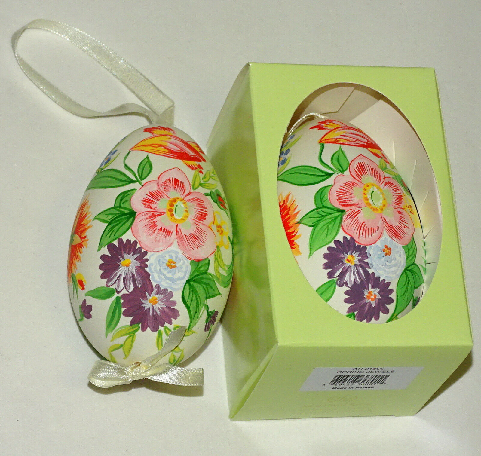 Osterei echte Gänse Eierschale handbemalt ca. 9 cm Ostern Ei Anhänger Dekoeier - SPRING JEWELS 218