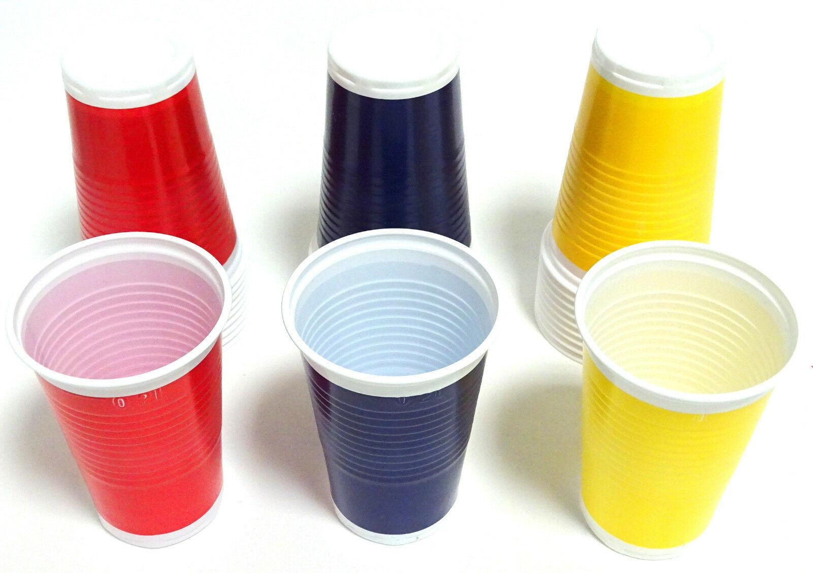 200-3.000 Plastikbecher Einwegbecher 0,2 l Trinkbecher Rot Gelb Blau ab 0,03€/St - 1.000 Stück, Mix (Rot /Gelb / Dunkelblau)
