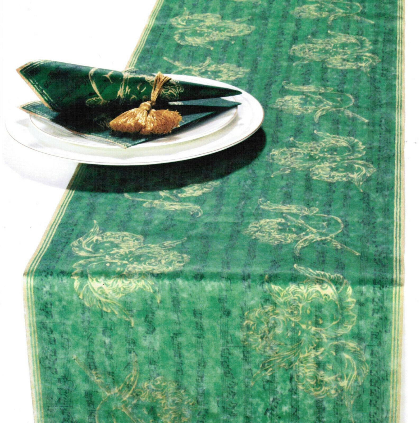 6 Pack Tischläufer Tischband je 33 x 600cm Weihnachten Engel Tischdeko - Grün