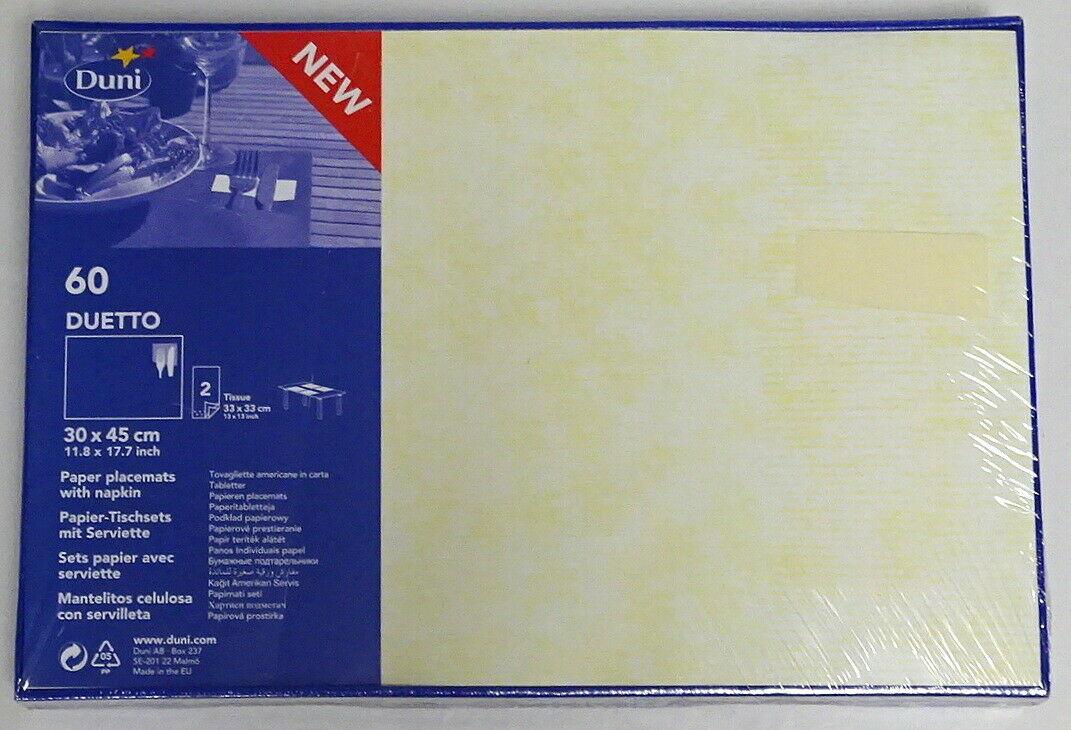 60-300 Papier Tischset mit Serviette 43x30 cm Duetto Platzset Platzdeckchen Deko - Creme (Champagner), 300 Stück = 5 Pack x 60 Stück