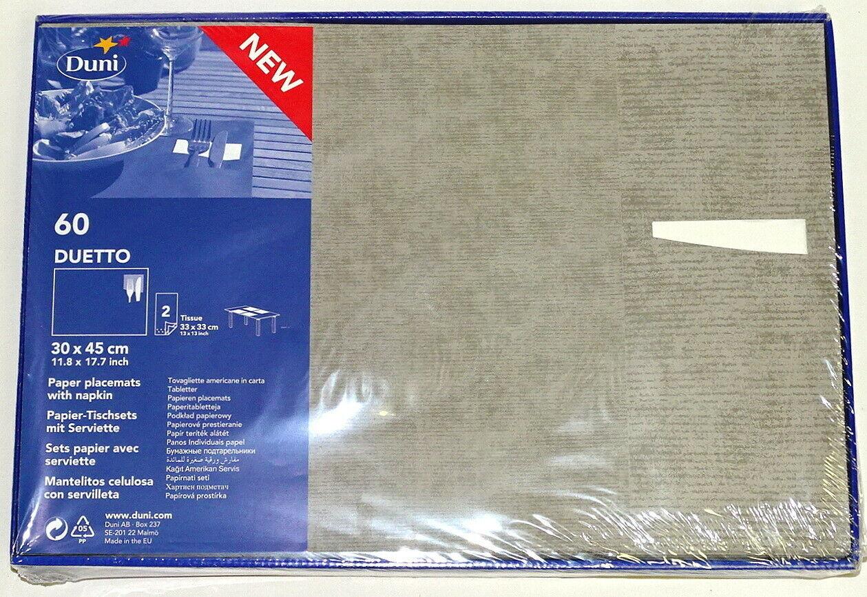 60-300 Papier Tischset mit Serviette 43x30 cm Duetto Platzset Platzdeckchen Deko - Grau, 300 Stück = 5 Pack x 60 Stück