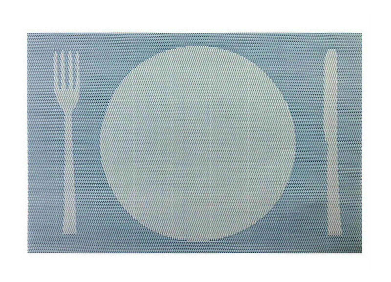 Tischset Platzdeckchen Platzset 45x30 cm abwaschbar Kunststoff PVC versch. Motiv - Besteck Design (Blau/Pastell-Blau)
