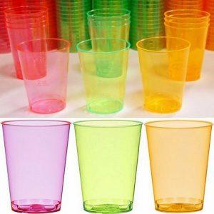 100 - 200 Stück Einweg Schnapsgläser 49 ml (Eichstrich: 2 cl/4 cl) Neon Farben - 200 Stück=10 Pack. x 20 Stück, Mix (Pink/Grün/Orange)