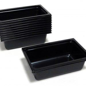 100 - 500 Stück Einweg Menüschale 500 ml CPET Schalen 161 x 102 x 50 mm schwarz - 500 Stück