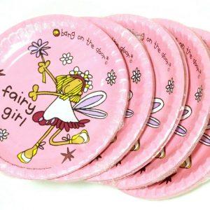 24 - 40 Stück Pappteller rund 22 cm Einweg Mädchen Party Kindergeburtstag Rosa - 40 Stück = 5 Pack. x 8 Stück