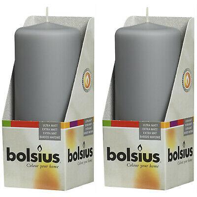 12 Stück Bolsius Stumpenkerzen 120 x 60 mm Qualitäts-Kerze Candle Grau Matt