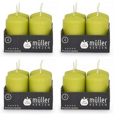 32 Stück Müller Stumpenkerzen 62 x 40 mm mit BSS Durchbrandsperre Kerze Grün