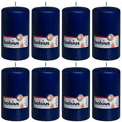 8 Stück Bolsius Stumpenkerzen 150 x 80 mm Stumpen Kerze Königsblau