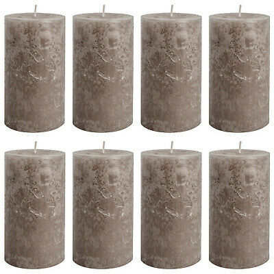 12 Stück Rustic Stumpenkerzen 130x68 mm Rustik Qualitäts-Kerzen Taupe