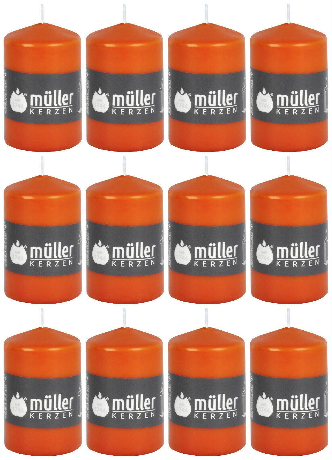 12 Stück Müller Stumpenkerzen 90x55 mm Stumpen Kerze mit BBS Durchbrandsperre - Orange / Mandarin