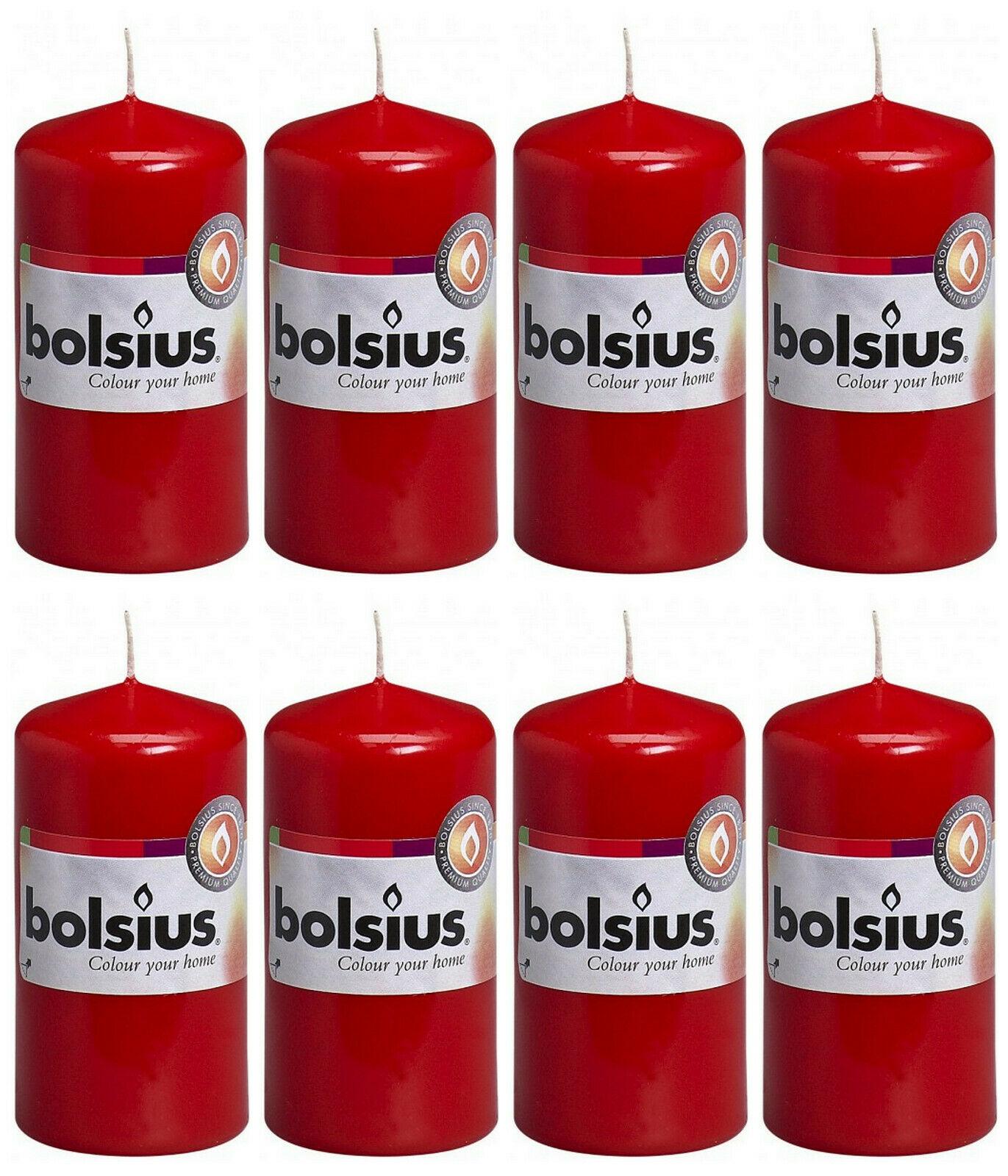 8 Stück Bolsius Stumpenkerzen 100 x 50 mm Stumpen Kerze Candle Rot, Weiß - Rot