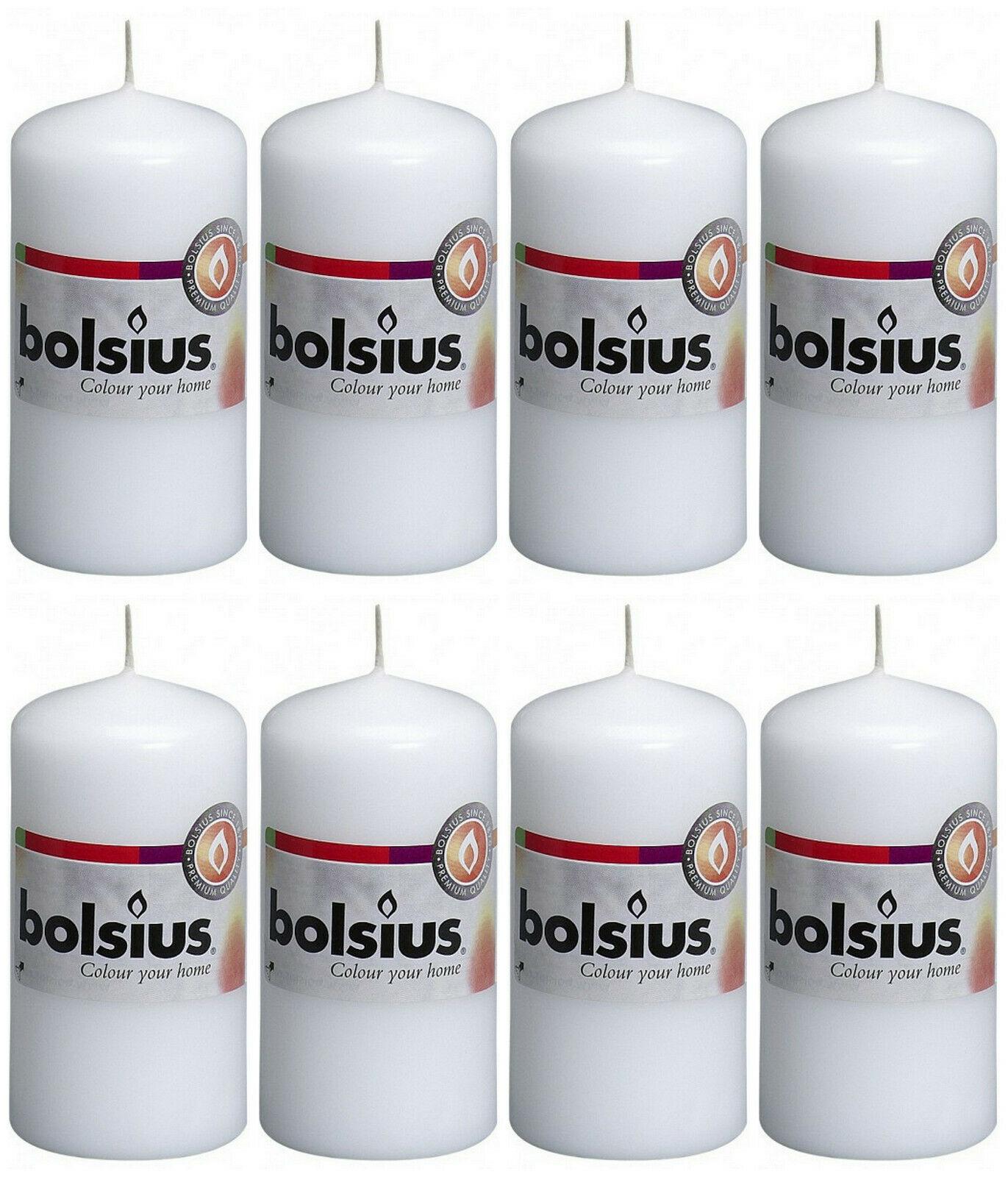 8 Stück Bolsius Stumpenkerzen 100 x 50 mm Stumpen Kerze Candle Rot, Weiß - Weiß