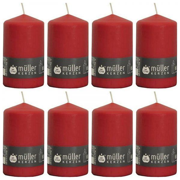 8 Stück Müller Stumpenkerzen 130x75 mm Stumpen Kerze BSS Durchbrandsperre  - Rot
