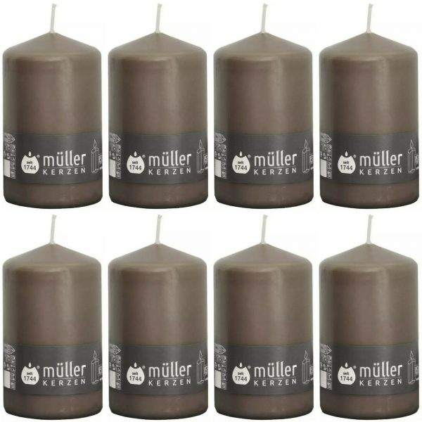 8 Stück Müller Stumpenkerzen 130x75 mm Stumpen Kerze BSS Durchbrandsperre  - Kaschmir /Braun