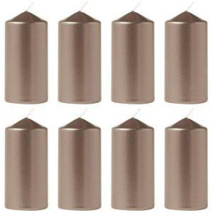 12 Stück Eika Stumpenkerzen Metallic 110 x 60 mm Stumpen Kerze Weihnachten  - Metallic Platin