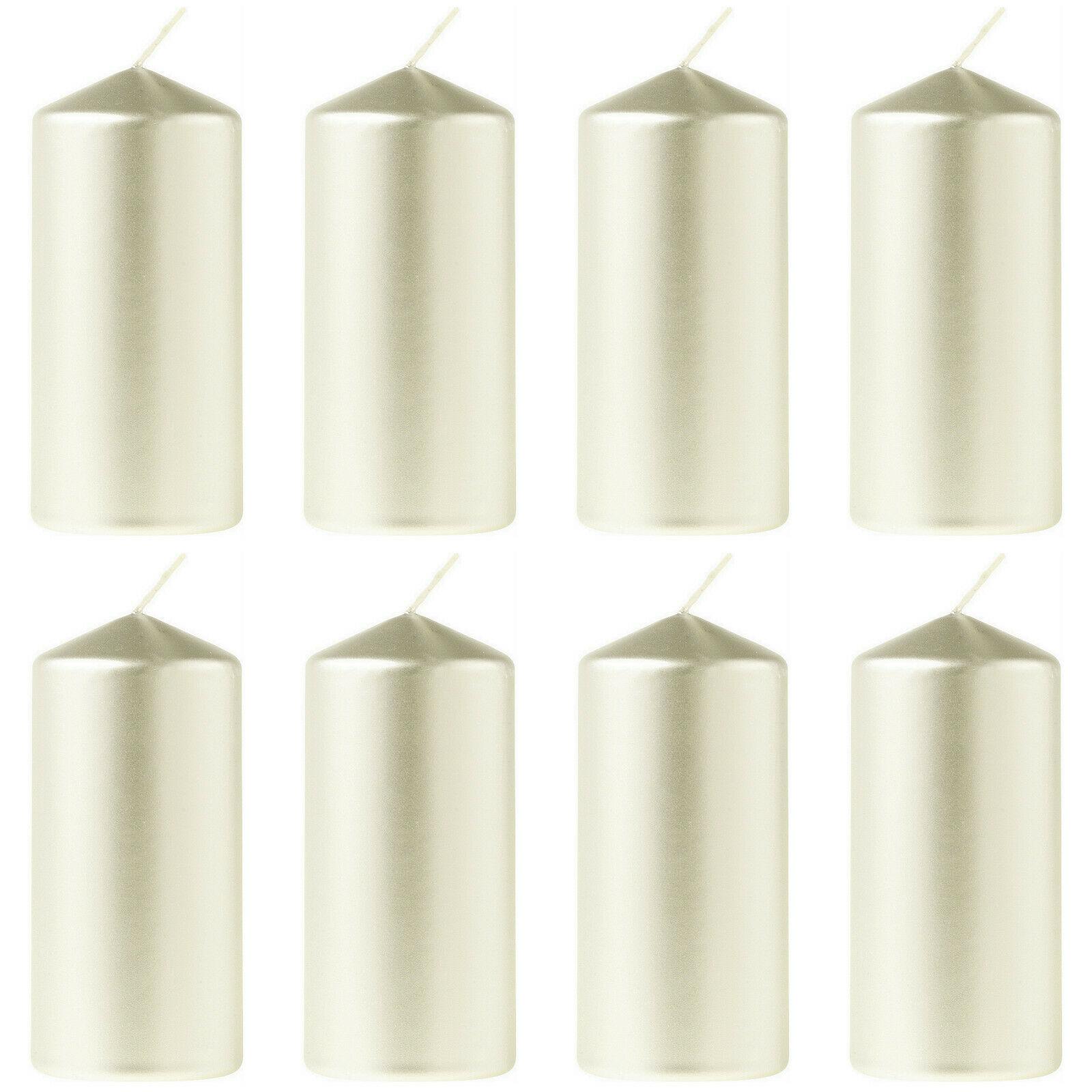 12 Stück Eika Stumpenkerzen Metallic 110 x 60 mm Stumpen Kerze Weihnachten  - Metallic Perlmutt-Champagner