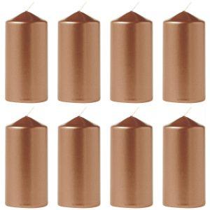 12 Stück Eika Stumpenkerzen Metallic 110 x 60 mm Stumpen Kerze Weihnachten  - Metallic Kupfer