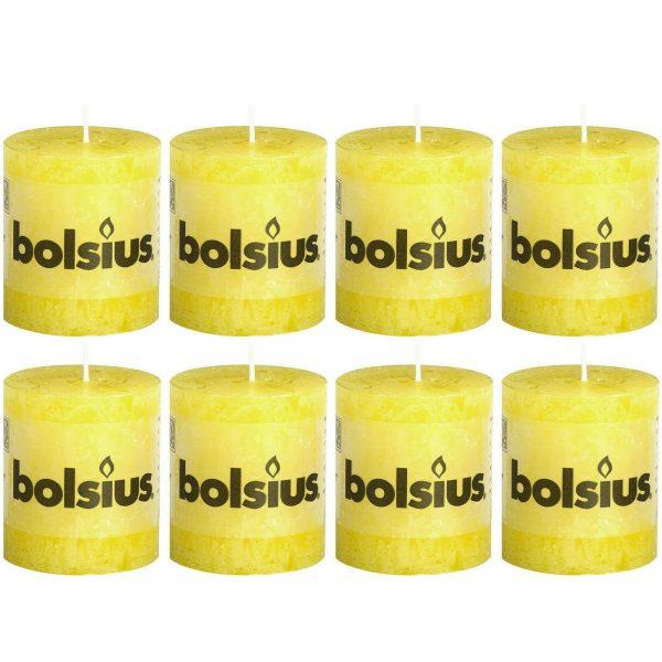 8 Stück Bolsius Rustik Stumpenkerzen 80x68 mm Rustic Kerzen Sonnengelb