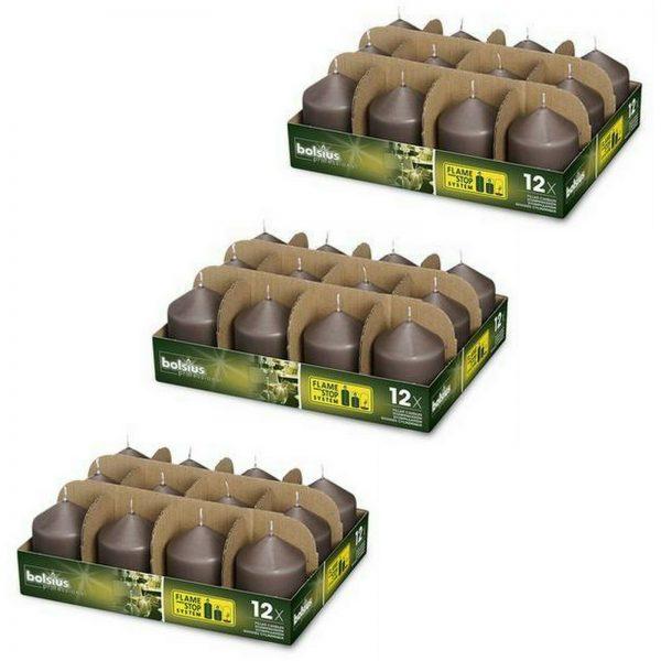 36 Stück Bolsius Professional Stumpenkerzen 78x58 mm Gastro Kerzen (3x12er Tray) - Taupe