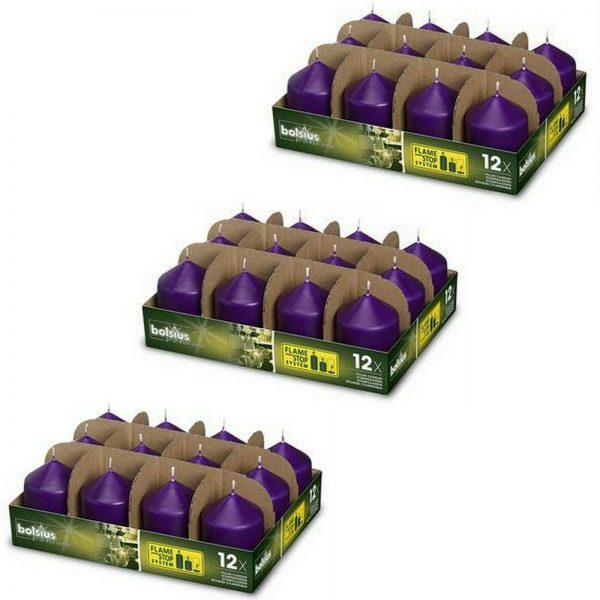 36 Stück Bolsius Professional Stumpenkerzen 78x58 mm Gastro Kerzen (3x12er Tray) - Purple