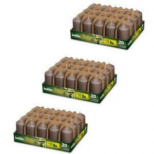 60 Stück Bolsius Professional Stumpenkerzen 98x48 mm Gastro Kerzen (3x20er Tray) - Taupe