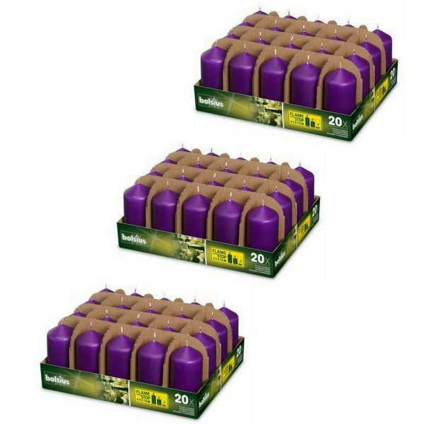 60 Stück Bolsius Professional Stumpenkerzen 98x48 mm Gastro Kerzen (3x20er Tray) - Purple