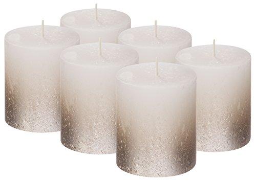 Bolsius Stumpenkerze RUSTIK von 6Metallic Weiß ohne Duft Kerzen und Silber beschichtet 80/68mm (ca. 3,2x 2,7571)