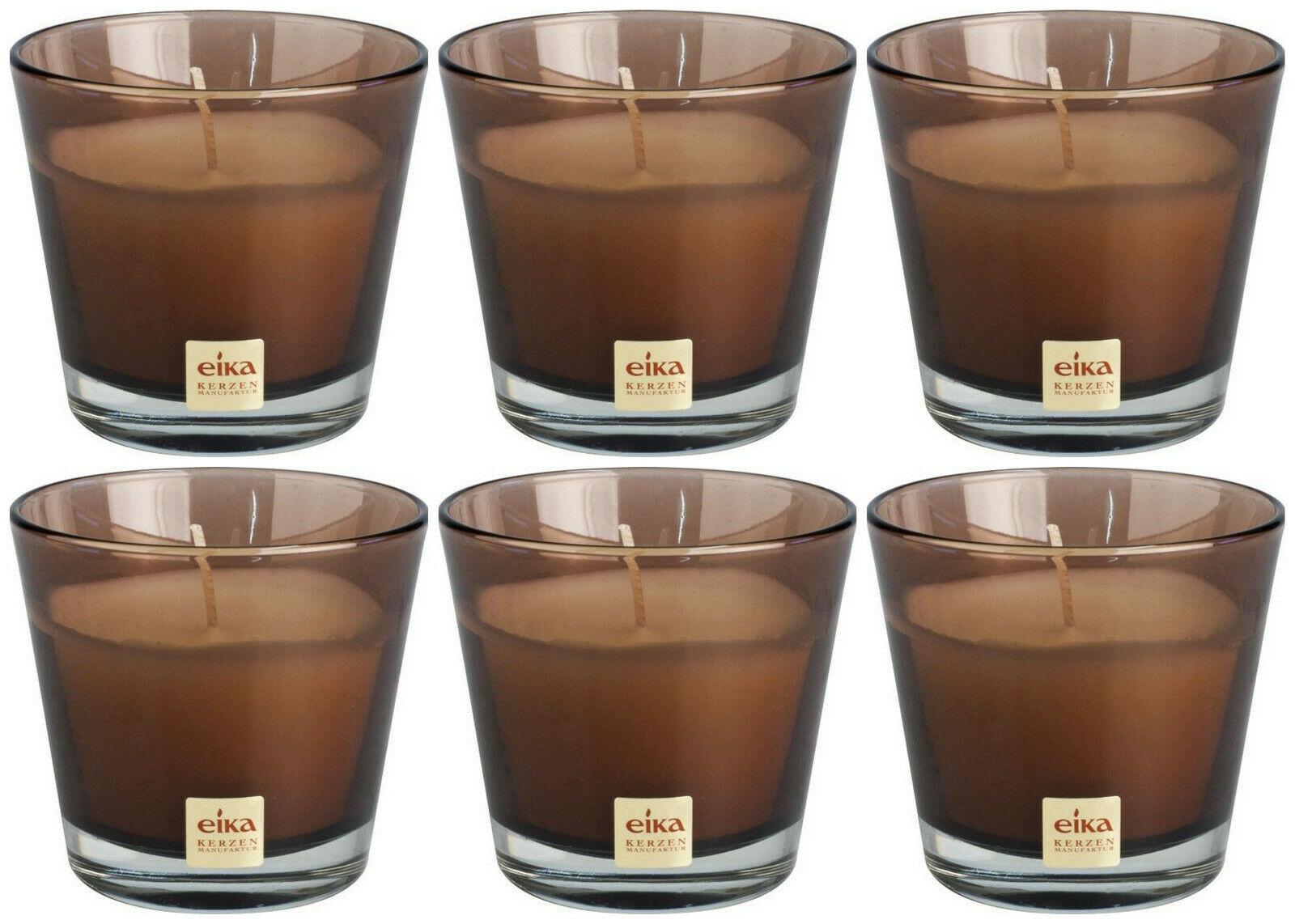 6 Stück Eika Kerzenglas 90x82 mm LARA Kerzen im Glas Candle Wachs Windlichtkerze - Cappuccino