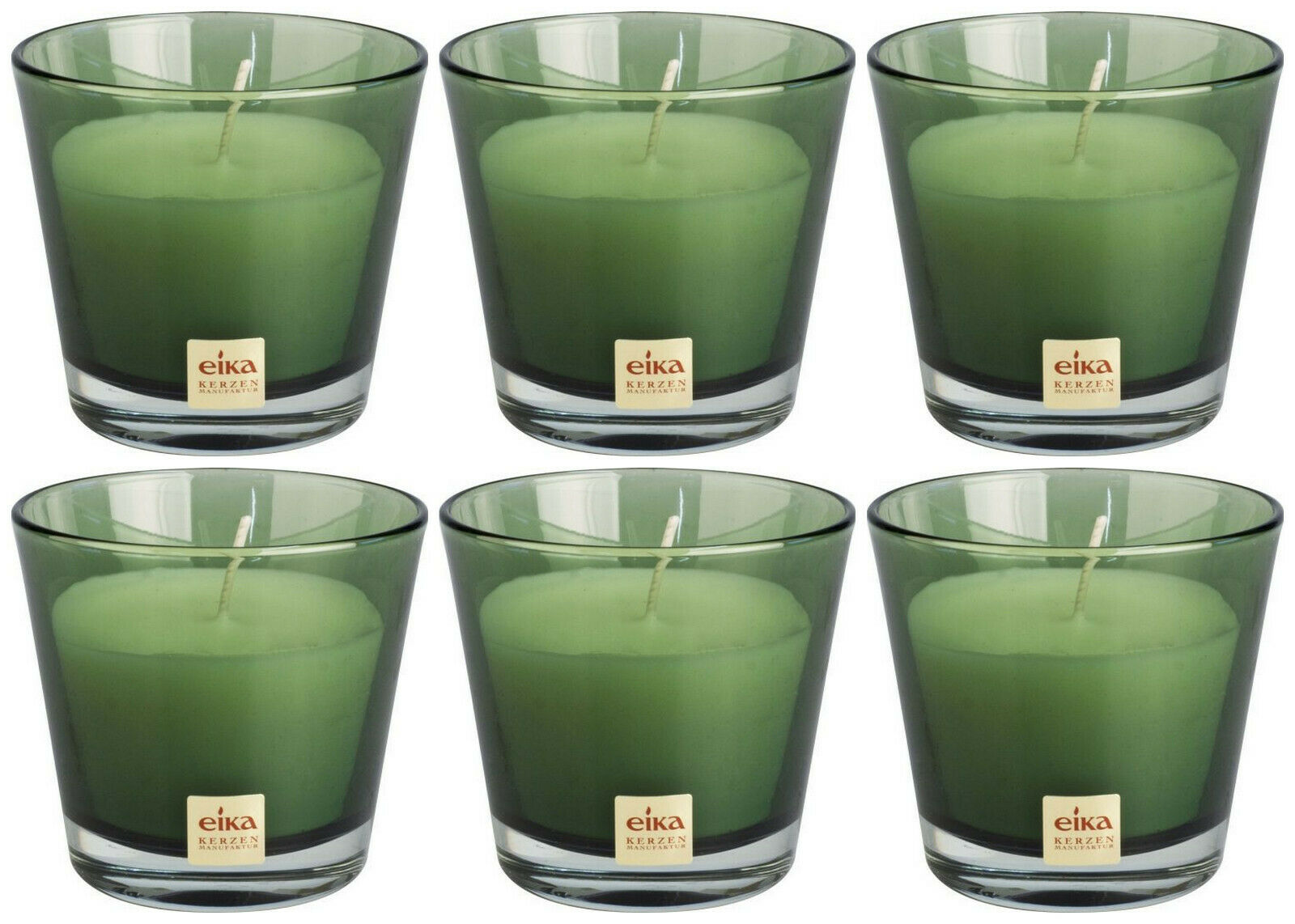 6 Stück Eika Kerzenglas 90x82 mm LARA Kerzen im Glas Candle Wachs Windlichtkerze - Kiwi-grün