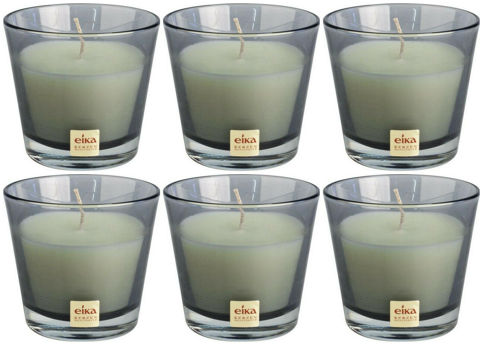 6 Stück Eika Kerzenglas 90x82 mm LARA Kerzen im Glas Candle Wachs Windlichtkerze - Steingrau